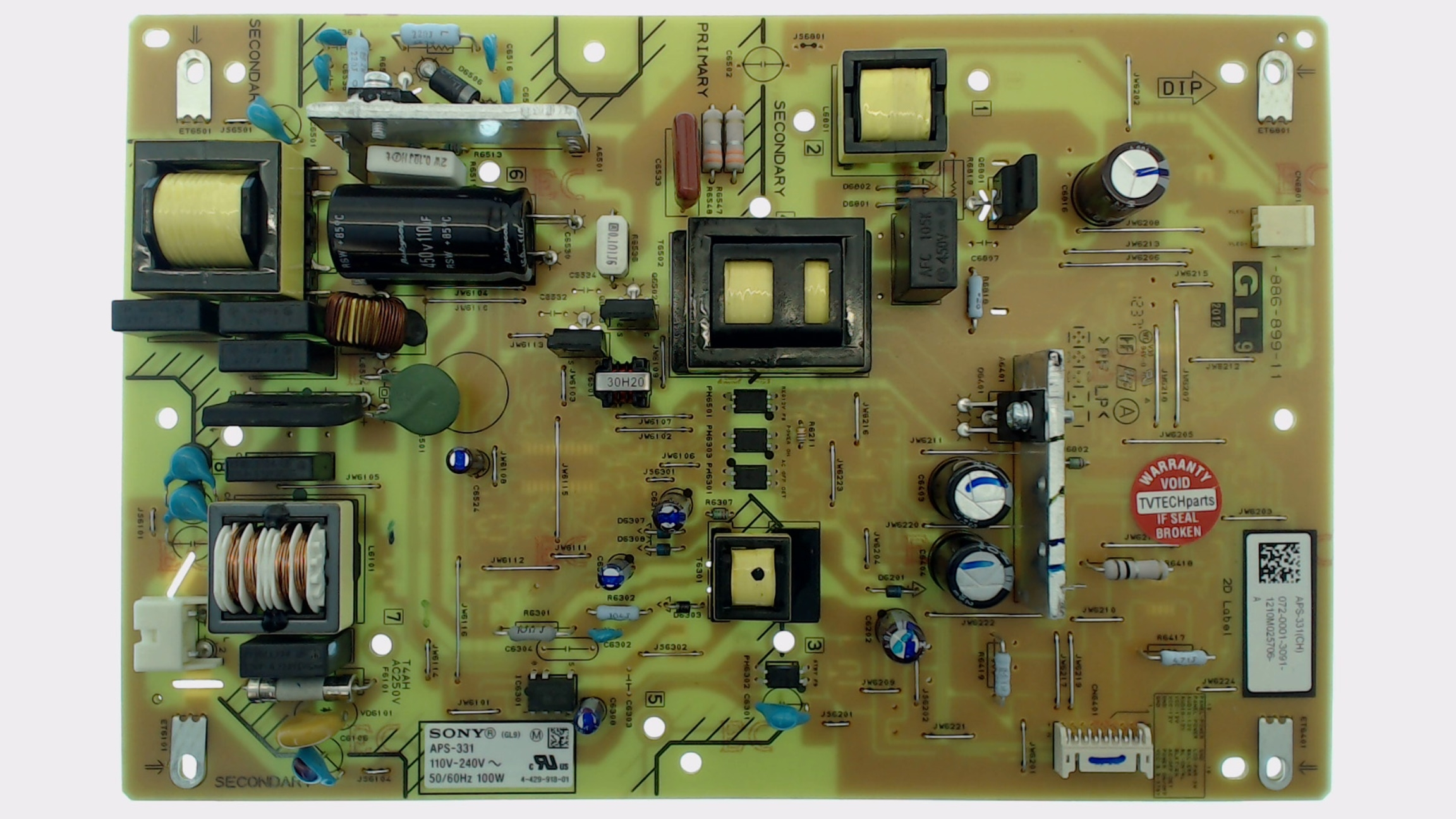 Sony TV Model KDL-32EX340 Power Supply Board Part Number 1-895-254-11